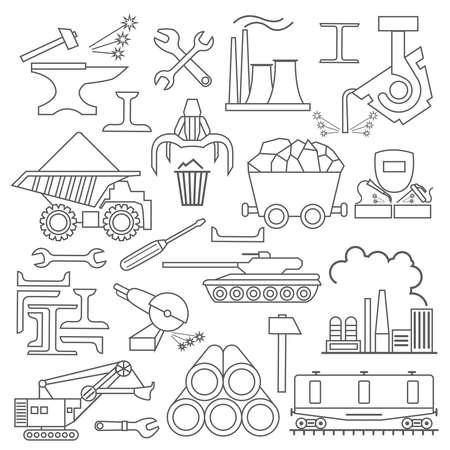Metallurgie-Icon-Set. Dünne Linie Icon Design. Vektor-Illustration