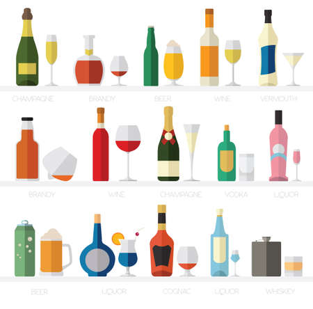 vermouth: Alcohol glasses and bottles flat icon set. Different alcohol beverages. Vector illustration Illustration