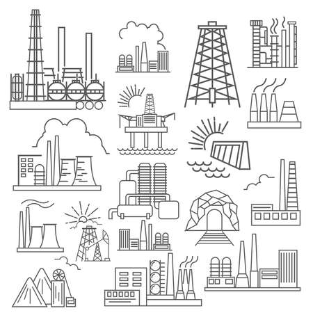 refinery engineer: Factory buildings icon set. Thin line icon design. Vector illustration Illustration