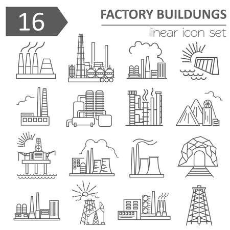 energy icon: Factory buildings icon set. Thin line icon design. Vector illustration Illustration