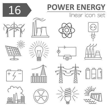Energie Energie-Icon-Set. Thin Line-Design. Vektor-Illustration