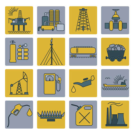oil and gas industry: Oil and gas industry icon set. Colour design. Vector illustration