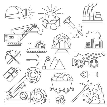 Coal mining icon set. Thin line icon design. Vector illustration Illustration