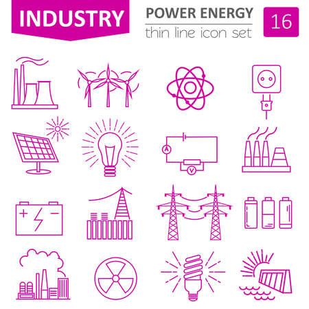 Power energie icon set. Dun lijnontwerp. Vector illustratie Vector Illustratie