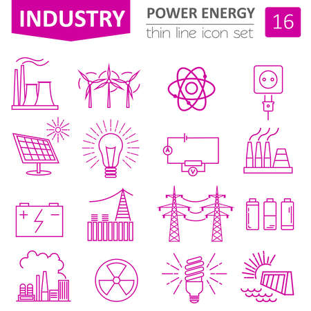 hydroelectric power station: Power energy icon set. Thin line design. Vector illustration