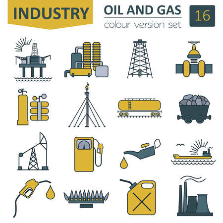 Oil and gas industry icon set. Colour design. Vector illustration