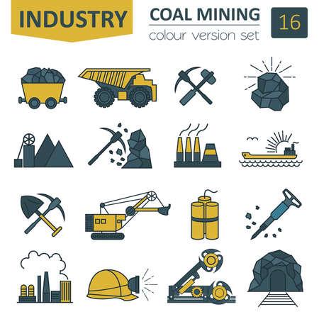 Coal mining icon set. Colour version design. Vector illustration