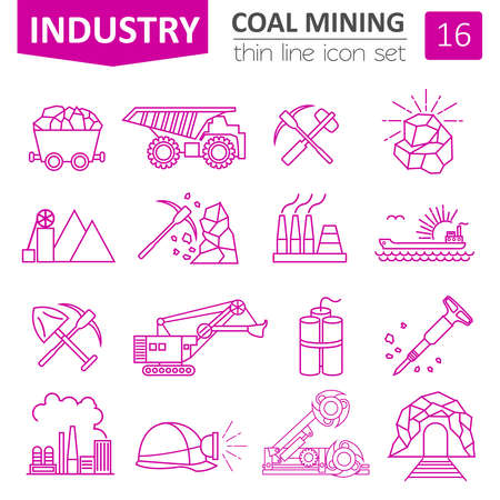 carreer: Coal mining icon set. Thin line icon design. Vector illustration Illustration