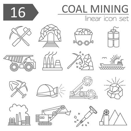 coal mining: Coal mining icon set. Thin line icon design. Vector illustration Illustration