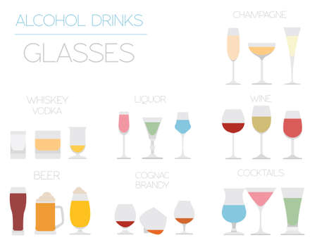 vermouth: Alcohol glasses flat icon set. Different alcohol beverages. Vector illustration Illustration