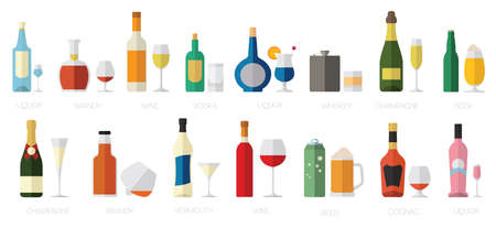 beer icon: Alcohol glasses and bottles flat icon set. Different alcohol beverages. Vector illustration Illustration