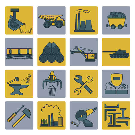 cast iron: Metallurgy icon set. Colour version design. Vector illustration Illustration