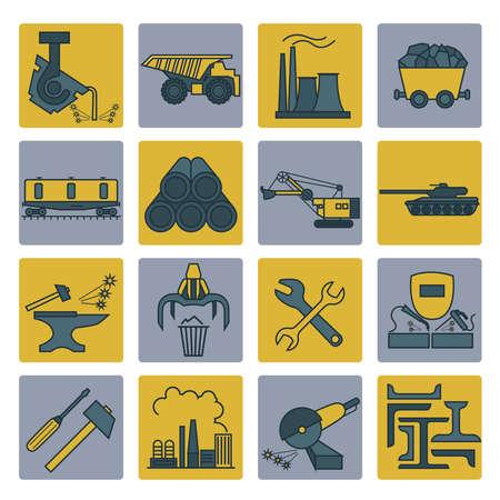 ferrous metals: Metallurgy icon set. Colour version design. Vector illustration Illustration