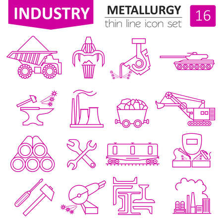 ferrous foundry: Metallurgy icon set. Thin line icon design. Vector illustration Illustration