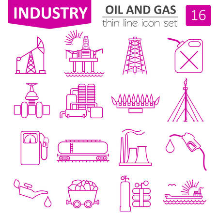 oil and gas industry: Oil and gas industry icon set. Thin line icon design. Vector illustration