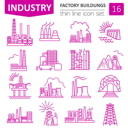 power station: Factory buildings icon set. Thin line icon design. Vector illustration Illustration