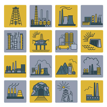 building color: Factory buildings icon set. Colour version design. Vector illustration