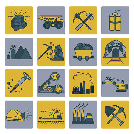 carreer: Coal mining icon set. Colour version design. Vector illustration