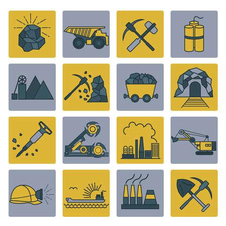 coal mining: Coal mining icon set. Colour version design. Vector illustration