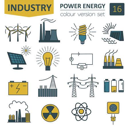 power station: Power energy icon set. Colour version design. Vector illustration Illustration