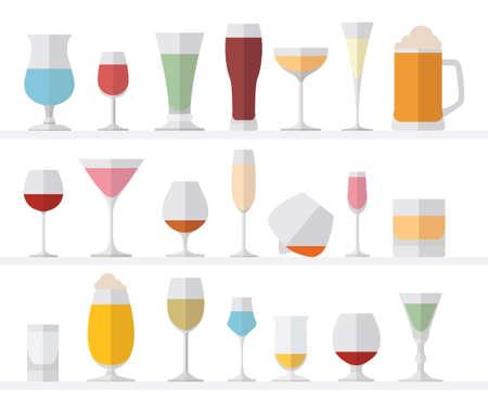 Alcohol glasses flat icon set. Different alcohol beverages. Vector illustration Иллюстрация