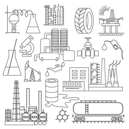 iron ore: Chemical industry icon set. Thin line icon design. Vector illustration Illustration