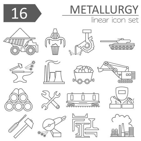 Metallurgy icon set. Thin line icon design. Vector illustration  イラスト・ベクター素材