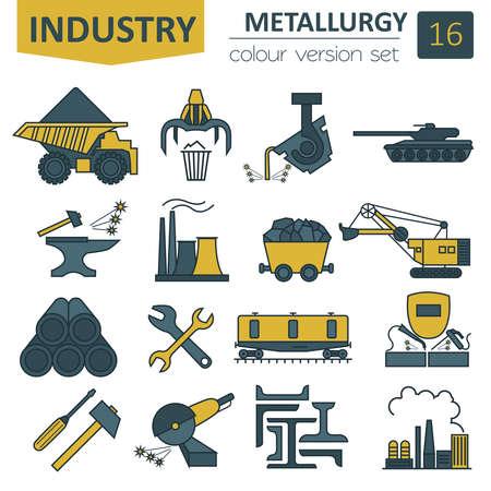 Metallurgy icon set. Colour version design. Vector illustration