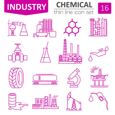 ferrous foundry: Chemical industry icon set. Thin line icon design. Vector illustration Illustration