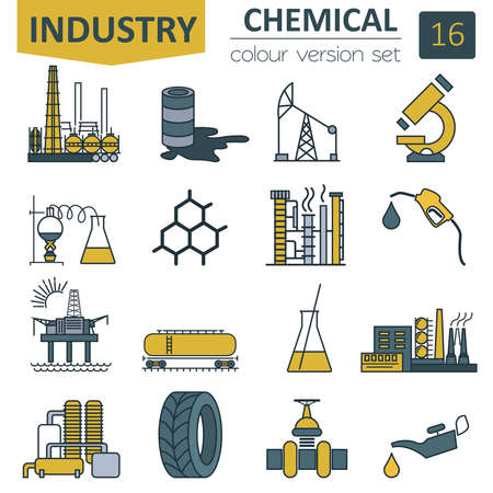 Chemical industry icon set. Colour version design. Vector illustration Çizim