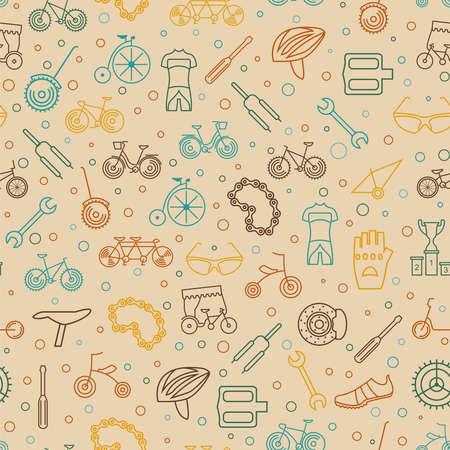 Bicycle seamless pattern. Tnin line design. Vector illustration Illustration