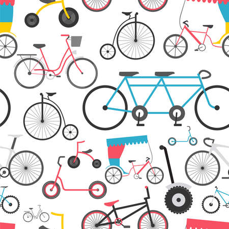 Bicycle seamless pattern. Colour flat design. Vector illustration
