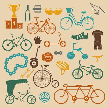 Bicycle icon set. Bike types. Vector illustration flat design Illustration