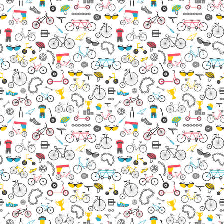 Bicycle pattern. Colour flat design. Vector illustration