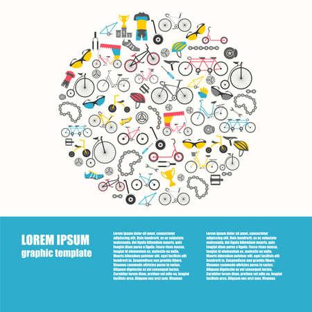 Bicycle graphic design. Bike types. Vector illustration flat design Illustration