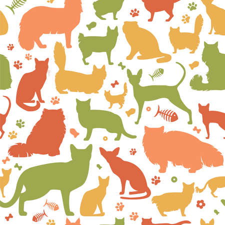 Cat characters and vet care seamless pattern flat style. Vector illustration