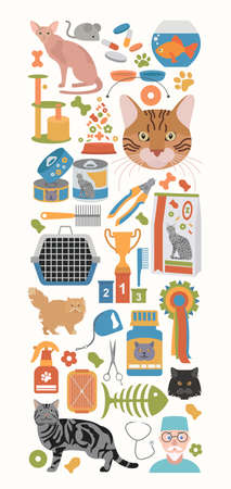 bobtail: Cat characters and vet care icon set flat style. Banner. Vector illustration