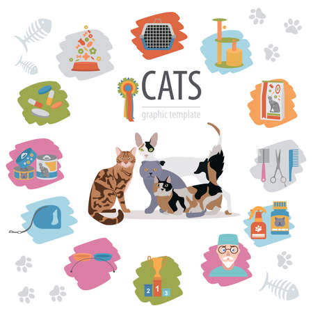 Cat characters and vet care icon set flat style. Vector illustration