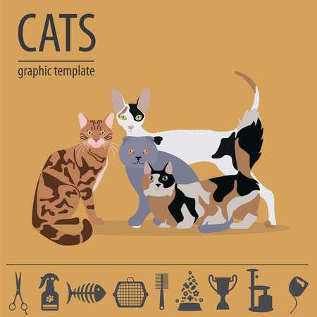 personajes del gato y el icono de atención veterinaria establecen estilo plano. ilustración vectorial Ilustración de vector