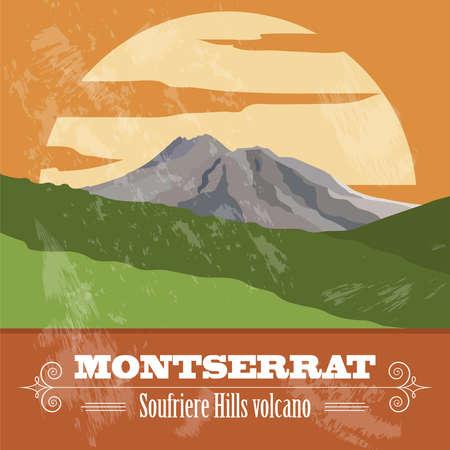 montserrat: Montserrat landmarks. Retro styled image. Vector illustration