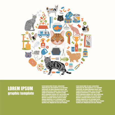 persian cat: Cat characters and vet care icon set flat style. Graphic template. Vector illustration