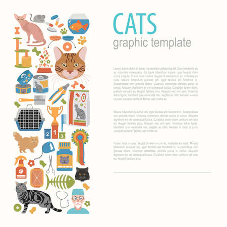 bobtail: Cat characters and vet care icon set flat style. Graphic template. Vector illustration
