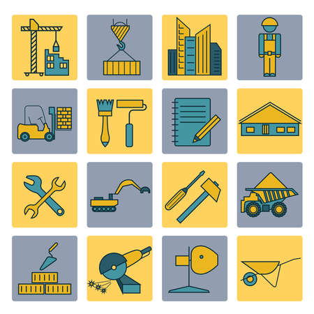 sander: Construction and house repair icon set. Thin line design. Vector illustration