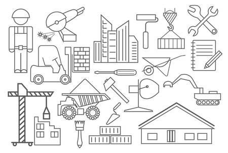 skid loader: Construction and house repair icon set. Thin line design. Vector illustration