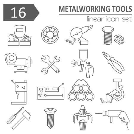 lathe: Metal working tools icon set. Thin line design. Vector illustration