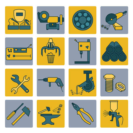 lathe: Metal working tools icon set. Thin line design. Vector illustration