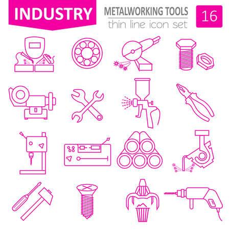 metal working: Metal working tools icon set. Thin line design. Vector illustration