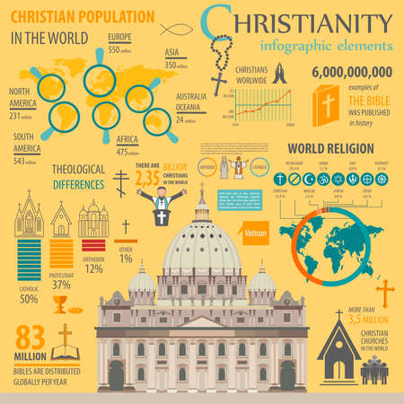 minister: Christianity infographic. Religion graphic template. Vector illustration Illustration