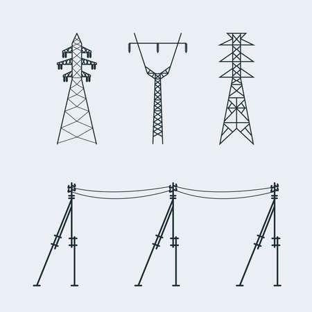 pylon: High voltage electric line pylon. Icon set suitable for creating infographics. web site content etc. Vector illustration Illustration