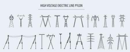 Linia wysokiego napięcia elektrycznego pylon. Icon set nadaje się do tworzenia infografiki. Zawartość witryny internetowej ilustracji wektorowych etc. Ilustracje wektorowe